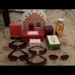 Sunglasses, bath soap, body gel & fragrances